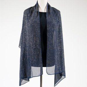 Sparkle Solid Colour Fashion Scarf - Navy Blue